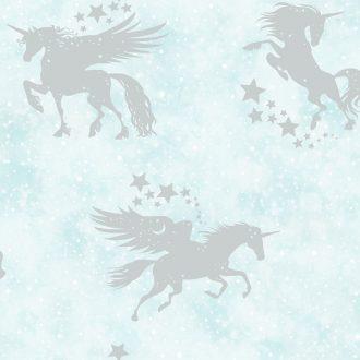 Papel Infantil con unicornios en plata-10