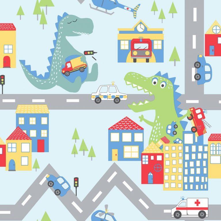 Papel Infantil de dinosaurio fondo blanco-10