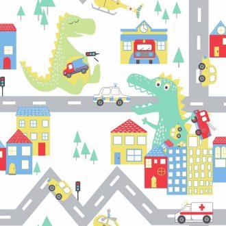 Papel Infantil de dinosaurio fondo claro-10