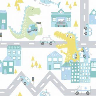 Papel Infantil de dinosaurio tonos verdes-10