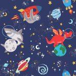Papel Infantil fluorescente con dibujos divertidos y fondo azul claro