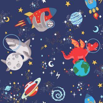 Papel Infantil fluorescente con dibujos divertidos y fondo azul claro-10