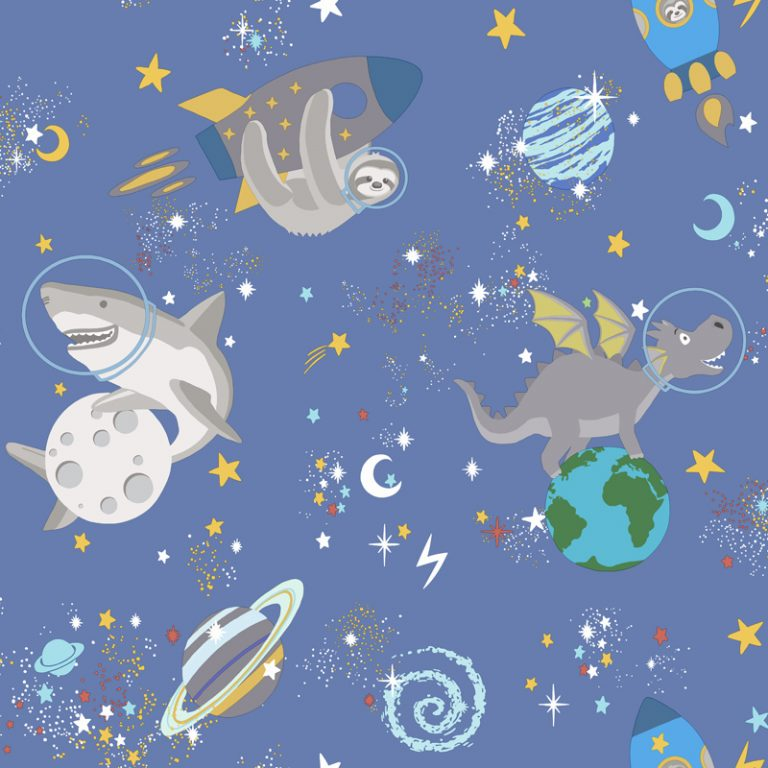 Papel Infantil fluorescente con dibujos divertidos y fondo azul oscuro-10