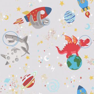 Papel Infantil fluorescente con dibujos divertidos y fondo gris-10