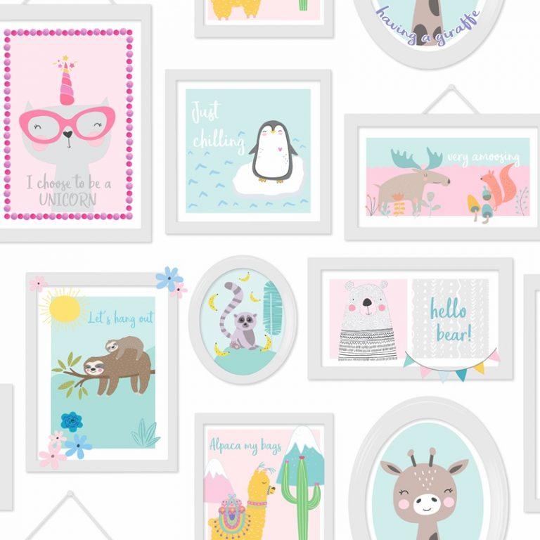 Papel Infantil fondo de marcos en colores-10