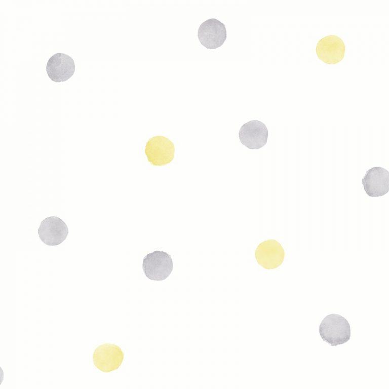 Papel Infantil puntos grises y amarillos-10
