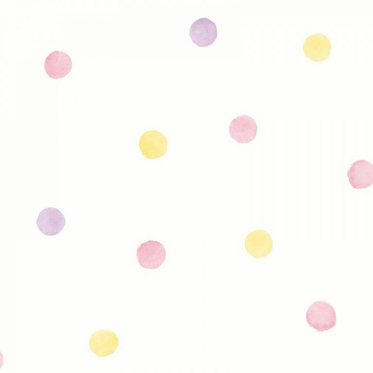 Papel Infantil puntos rosas y amarillos-10