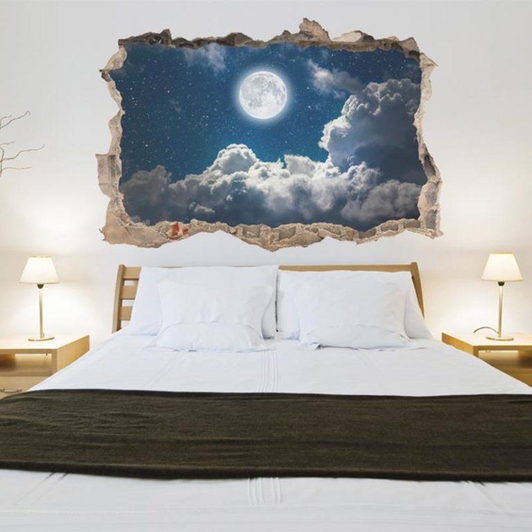 Ambadecor | Vinilos | Fotomurales | Vinilo 3D Noche y luna-Vinilo monomérico autoadhesivo