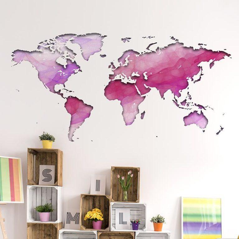 Ambadecor   Vinilos   Fotomurales   Vinilo Mapa del Mundo degradado Rosa-Vinilo monomérico